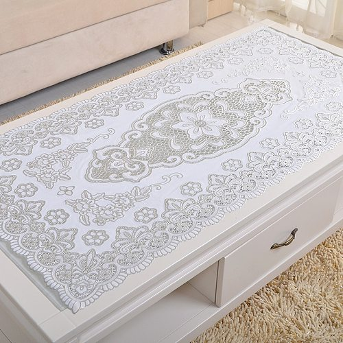 PVC Table Cloth Rectangular Waterproof Oilproof Anti-hot Gold Stamping Plastic Tablecloth Hollow Coffee Cabinet Cover Table Mat