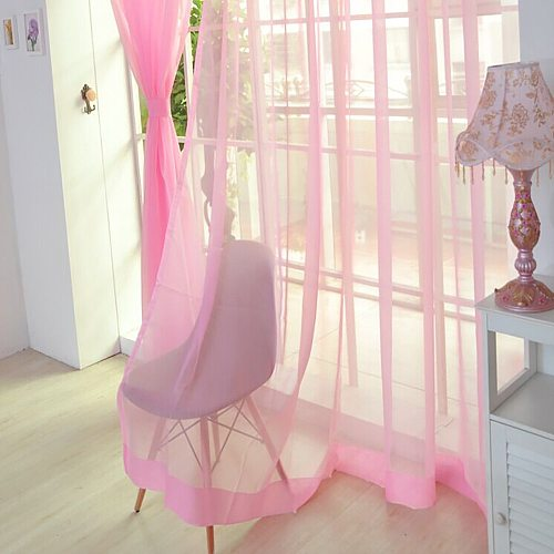 1 Pcs Pure Color Tulle Door Window Curtain Drape Panel Sheer Scarf Valances Transparent Tulle Curtains Window Sheer For Bedroom