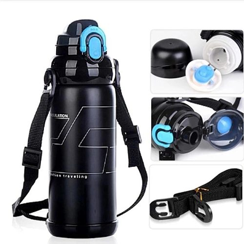 Large-capacity Thermos Stainless Steel Travel Camping Hot Water Bottle with Rope Outdoor Thermal Mug Long-lasting Insulation