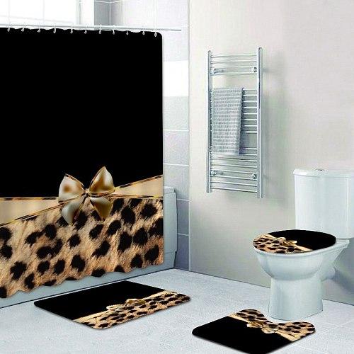 Girly Pink Ribbon Leopard Print Shower Curtain and Bath Rugs Set Modern Cheetah Leopard Bath Curtains for Bathroom Home Decor