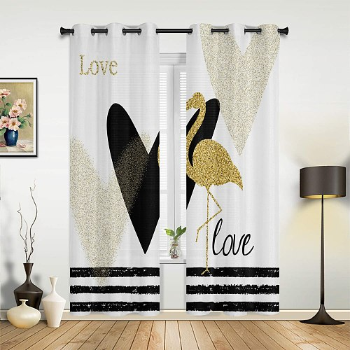 Flamingo Stripes Golden Valance Window Curtains For Living Room Bedroom Kitchen Home Korean Youth Room Window Curtains