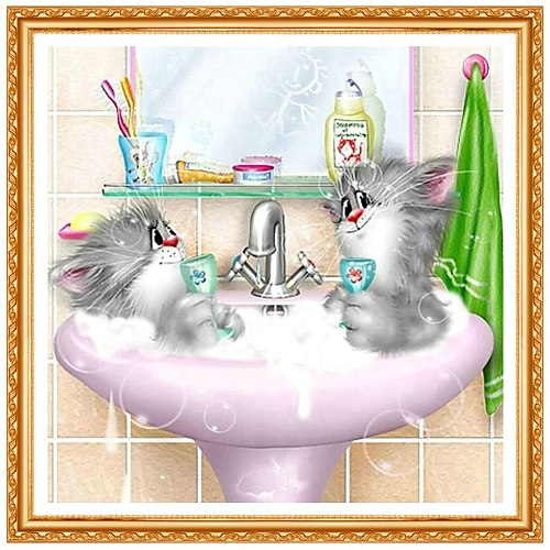 2021 New Arrived Diamond Painting Animals Cartoon Cat Lover Cross Stitch Square Diamond Embroidery Sets Home Decoration