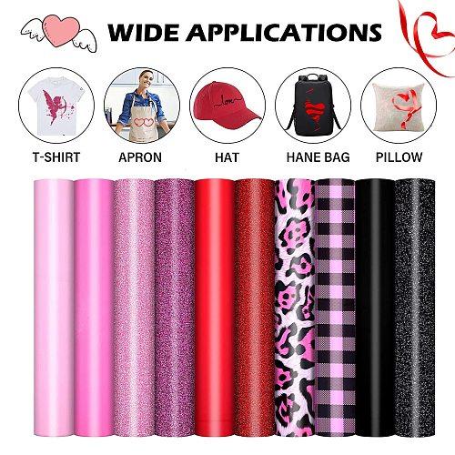 10 Rolls Leopard TPU Heat Transfer Vinyl Iron-on HTV Heat Press Cricut Film For T-Shirt Textiles Clothing Shoe Bag Sticker DIY