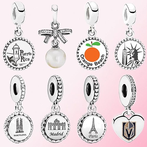 Classic 100% 925 Sterling Silver Orange Beach Woman Holy Family Barcelona Statue of Liberty Dangle Charm Pendant For Women