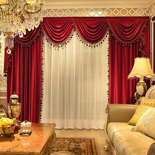European-style Velvet Red Curtains Valance Curtains for Living Room Bedroom Marriage Room Bay Window Curtains Valance Custom