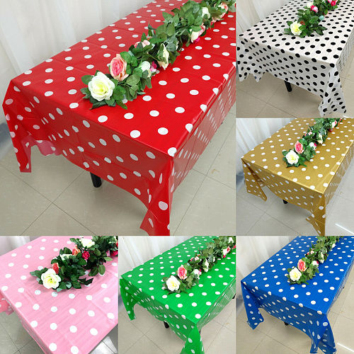 2019 Newest Hot Large Plastic Rectangle Table Cover Cloth Wipe Clean Party Dot Tablecloths Cover