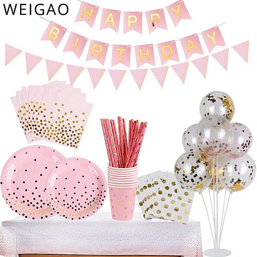 Pink Dot/Gold Star Pattern Disposable Dinnerware Set Birthday Party Tableware Set for Baby Shower Wedding Party Bridal Shower