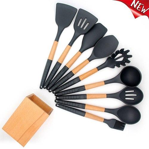 Kitchenware Silicone Kitchenware 9 Piece Set Non-slip Handle Nonstick Cookware Cooking Spatula Kitchen Tool