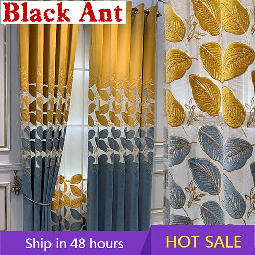 Nordic Luxury Golden Leaf Semi-Blackout Curtain For Living Room Villa Bedroom Hollow-Out Velvet Embroidered Window DrapesZH440#3
