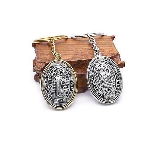 Oval Saint Benedict Exorcism Keyrings Ancient Silver Color Catholic Relic Pendant Keychain Religious Jewelry Church Souvenir