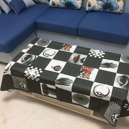 Black White Square Plaid Table Cloth Retro Classical Table Cover Lady Face Decorative Fabric Linen Tablecloth Cover Table