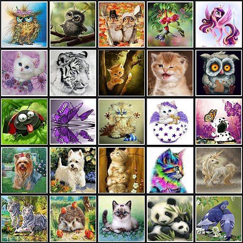 5D DIY Diamond painting circle full character Animal mosaic cross stitch mosaic home decor label