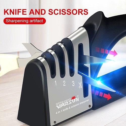 4-in-1 Knife Sharpener Kitchen Handheld Diamond Sharpener Stick Sharpener Non-slip Base Sharpening Stone Durable Kitchen Tool