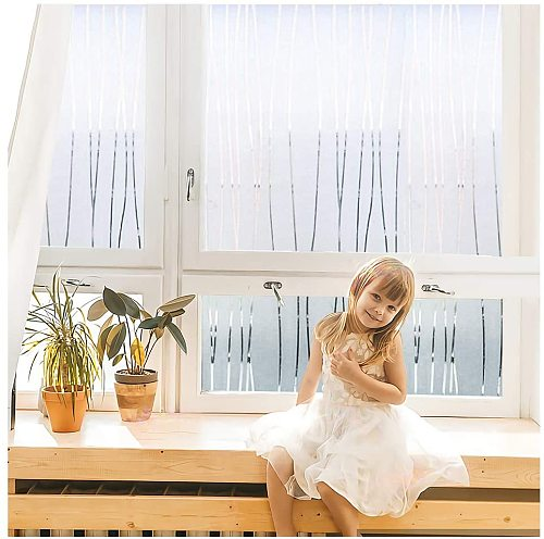Frosted Window Film Privacy Static Cling Non Adhesive Decorative Film Glass Look Protection Heat Control UV Blocking for Home
