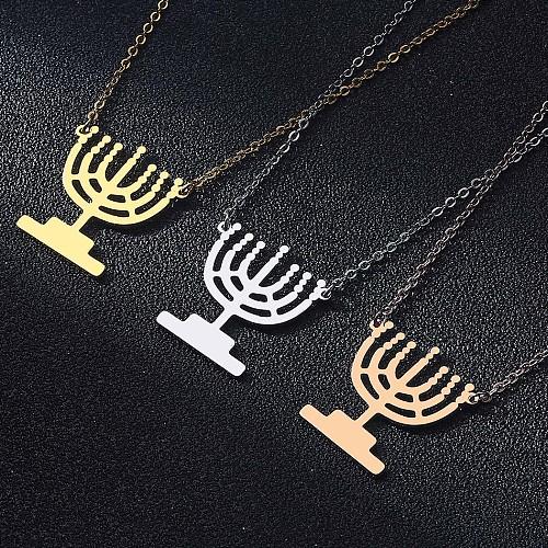 QIMING Hanukkah Candles Chanukah Menorah Hanukkiyah Lamp Stand Shaped Pendant Necklace Stainless Steel Jewelry Necklace Chokers