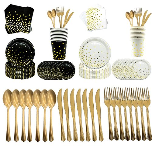 Black Gold Dot Party Decoration Festival Supplies Foil Knife, fork  Napkin Table Cover Paper Cups Halloween Christmas Tableware