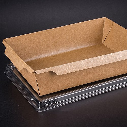 50pcs Kraft paper lunch box disposable takeaway square food fast takeaway packaging cups sushi salad fruit container with lid