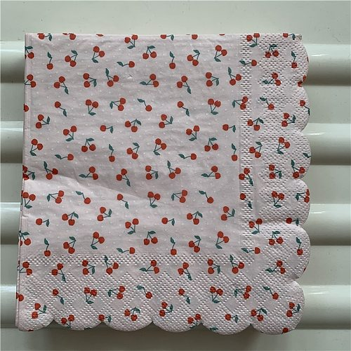 Decoupage table paper napkins elegant tissue vintage curved shape towel cherry birthday wedding party home beautiful decor 20