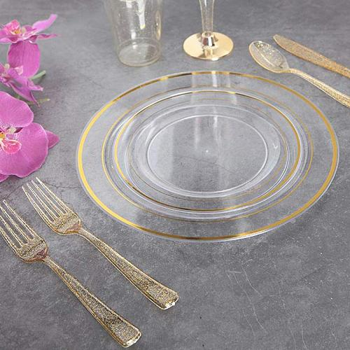 1 Set 36pcs Disposable Cutlery Plastic Glittering Utensils Wedding Party Tableware (Cutter Fork Spoon for Each 12pcs)