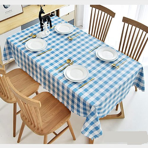Plastic PVC rectangular Tablecloth Lattice printed Waterproof Oilproof kitchen dining Table colth Cover Mat washable Oilcloth