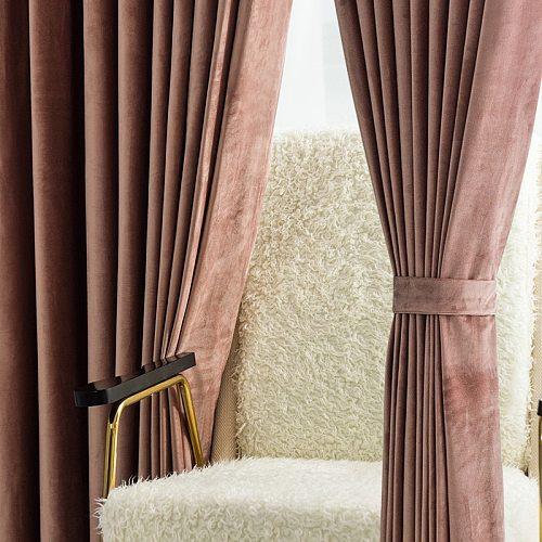 Nordic Luxury Super Soft Dutch Velvet Curtains Simple and Modern Blackout Bedroom Living Room Solid Color Velvet Curtains Tulle