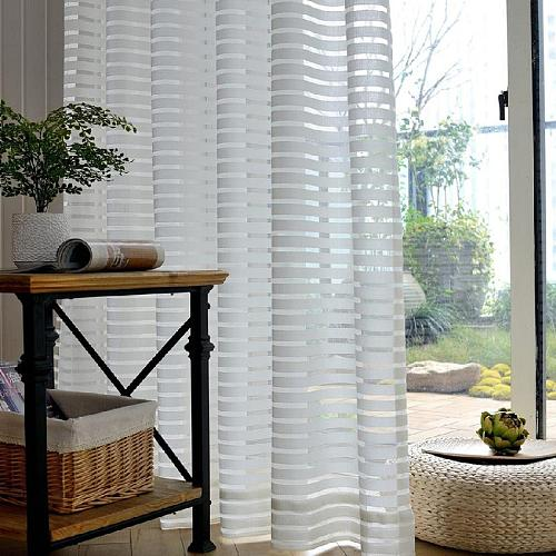 White Striped Tulle Curtains for Living Room the kitchen Home Decor Modern Sheer Curtain Bedroom Shower Window Drapes Valance