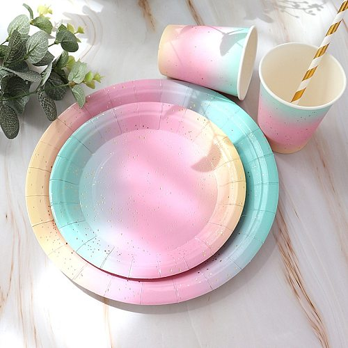 Rainbow Gradient Color Disposable Tableware Paper Plate Cup Wedding Party Birthday Bronzing Dot Cake Plate Party Supplies Decor