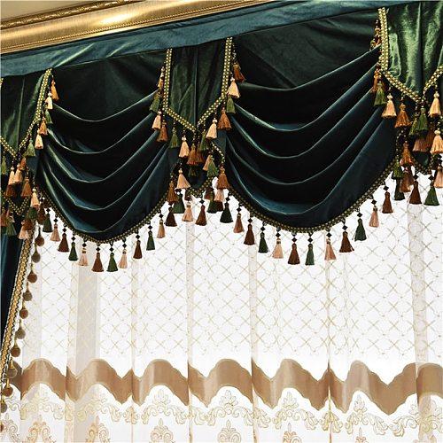 European Italian Velvet Curtains for Living Room Bedroom Luxury Solid Color Curtain Valance Window Treatments Custom Drapes