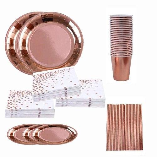 50pcs Disposable Rose Gold Tableware Set Birthday Wedding Party Dinnerware Decor Plastic Paper Cup Plates Napkin Straw Foli