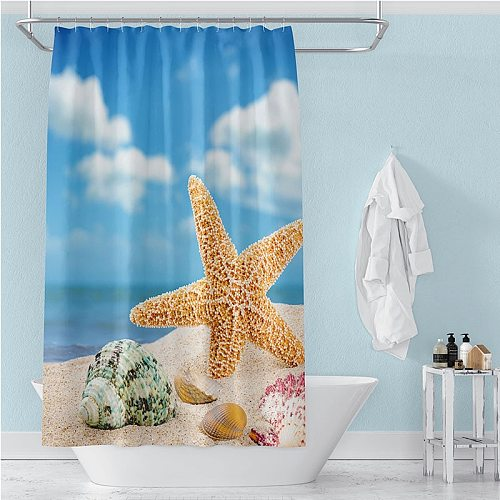 Sea Scenery Waterproof Shower Curtain beach High Quality  bath curtains in the bathroom curtain set with hooks mat Home Decor