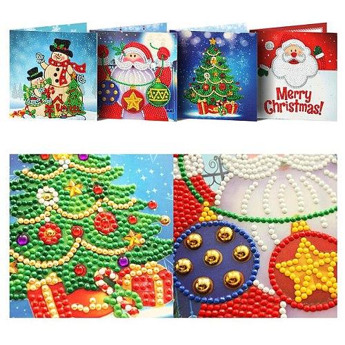 5D Diamond Painting DIY Christmas Cards Diamond Embroidery Santa Claus Greeting Postcards Diamond Mosaic Handmade Gift