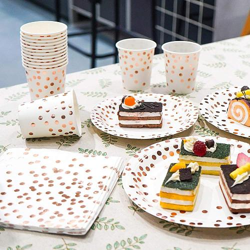 Rose Gold Dot Disposable Paper Plates Set Party Supplies Disposable Paper Plates Napkins Cup For Baby Shower Party Decoration