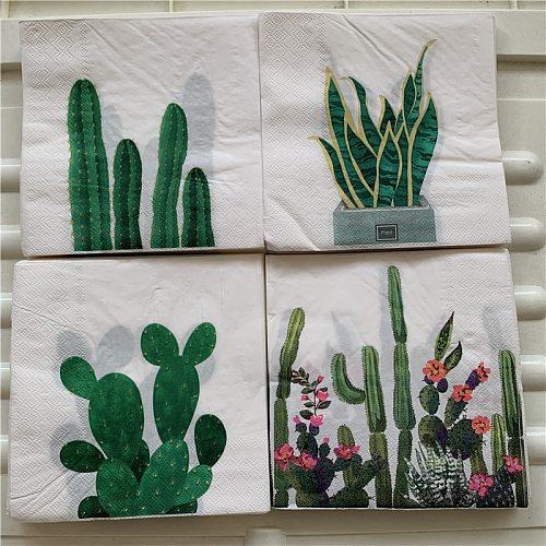 20 Vintage napkin paper tissue cactus flower handkerchief decoupage wedding birthday party X-mas serviettes home dinner decor