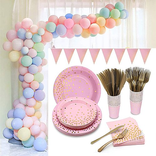 Pink Disposable Tableware Set Paper Plates Cup Napkin Baby Birthday Party Decor Baby Shower Girl Party Supplies Balloon Decor