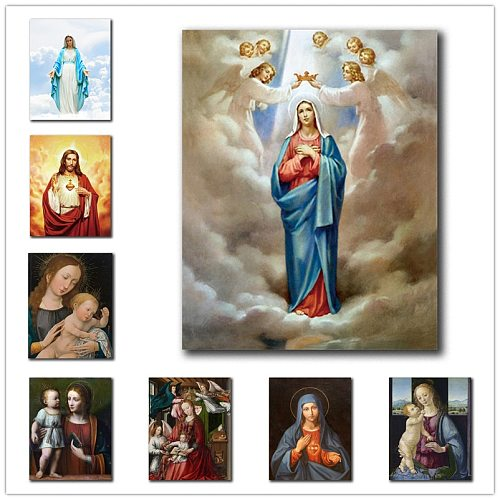 Virgin Mary Christian Canvas Painting  Wall Art Picture Home Decor posters and prints Living Room Catholic Church Besdroom Mural