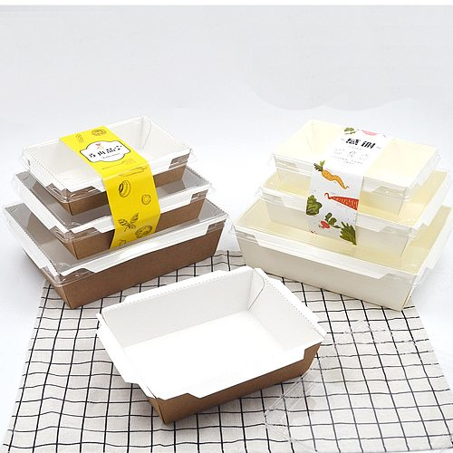 Disposable Kraft Paper Box with plastic lid Food Take Out Container Cake Boxes