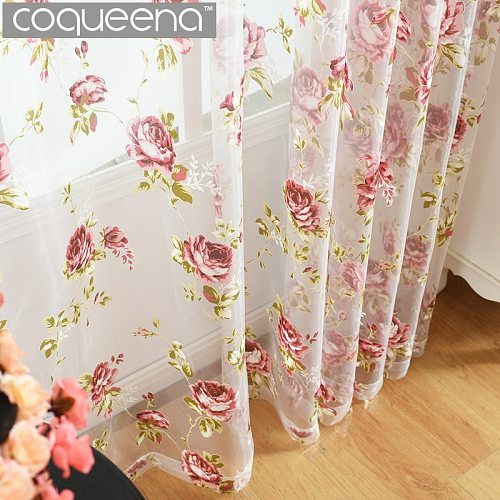Ready Made Custom Red Peony Tulle Curtains for Kitchen Door Window Living Room Bedroom Sheer Voile Yarn Curtains , 1 Panel/PCS