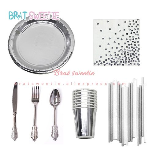 Metallic Silver Disposable Tableware Paper Straws Plates Wedding Christmas Happy Birthday Party Decorations Adults Supplies