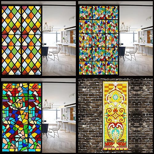 Custom Size Glass Film Static Cling Classical European Christian Church Stained Pattern Window Sticker Drop-Shipping 40cmx60cm