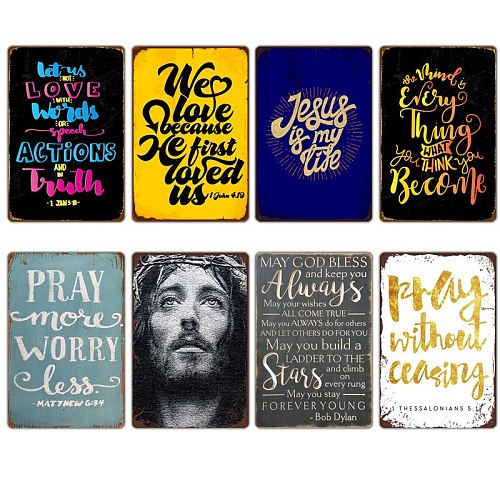 Bless Pray Day Christian God Graffiti Characters Potsers Metal Tin Sign Church Room Cafe Home Decor Plate Plaques Wall Stickers