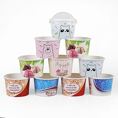 50pcs Creative disposable ice cream paper bowl party birthday wedding favor decor food cake cup takeaway packaging cup with lid
