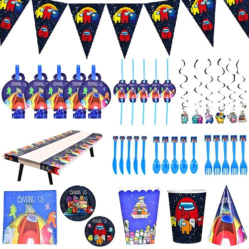 Among Us Birthday Kids Party Decorations Disposable Tableware Set Balloon Cups Plates Napkin Baby Shower Birthday Party Supplies
