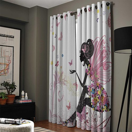 African Women Butterfly Girl Window Curtains Living Room Curtains Kitchen Decor Kids Room Curtain Window Treatment Valances