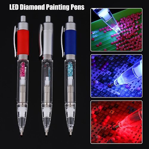 DIY Lighting Point Drill Pens LED Lamps 5D Diamond Painting Pen Cross Stitch Embroidery Tools Sewing Accessories