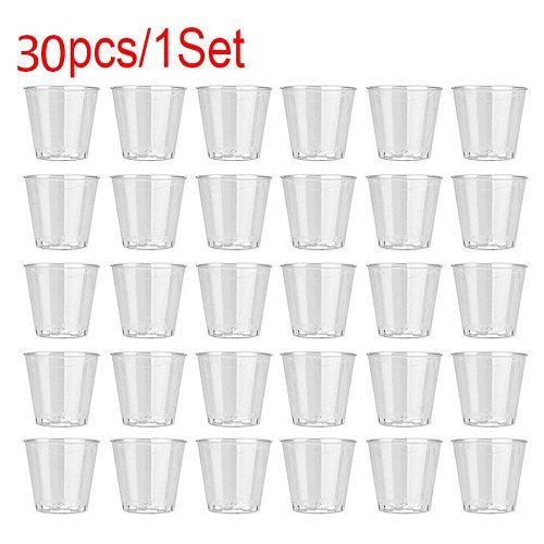 30pcs Disposable Plastic Cups Portion Transparent Clear Trapezoidal Food Container For Jelly Yogurt Mousses Dessert Baking #T2P