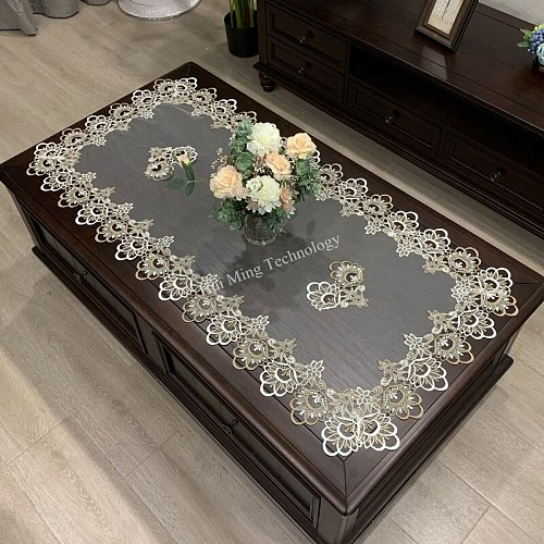 HUAZI European rectangle table cover embroidered Coffee Tablecloth Table Western Tea Table Cloth flower Solid Fabric Lace Book