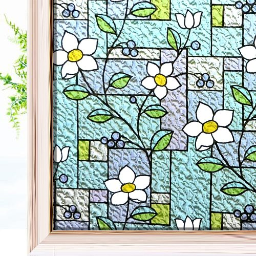 Stained Glass Window Film Color Flower Pattern Privacy Window Sticker Decorative  Anti-UV Vinyl Glass Film Non Adhesive for Home
