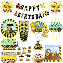 Construction Tractor Theme Disposable Tableware Paper Cup Plates Napkins Truck Vehicle Excavator Kids Party Decorations Supplies