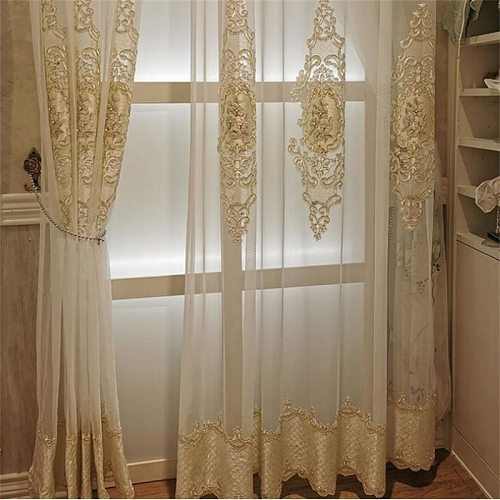 Luxury European Embroidered Pearl Tulle for Living Room Noble Window Bedroom Drapes Sheer Voile Valance Fabric White Panel 034#4