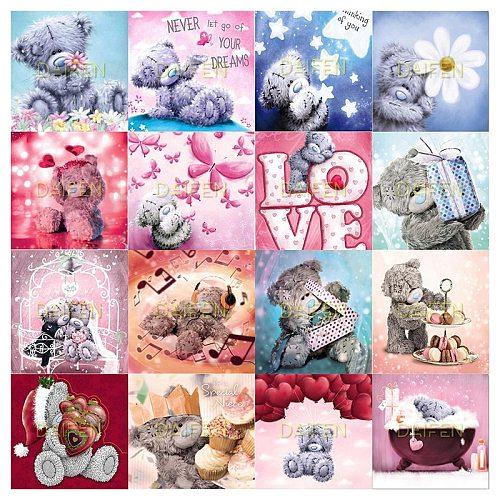 Full Square Diamond painting Cross stitch teddy bear cartoon Full Round Diamond embroidery teddy bear cartoon DIY Diamond mosaic